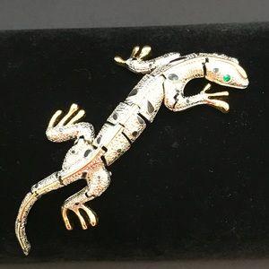 Vintage lizard brooch original card and box